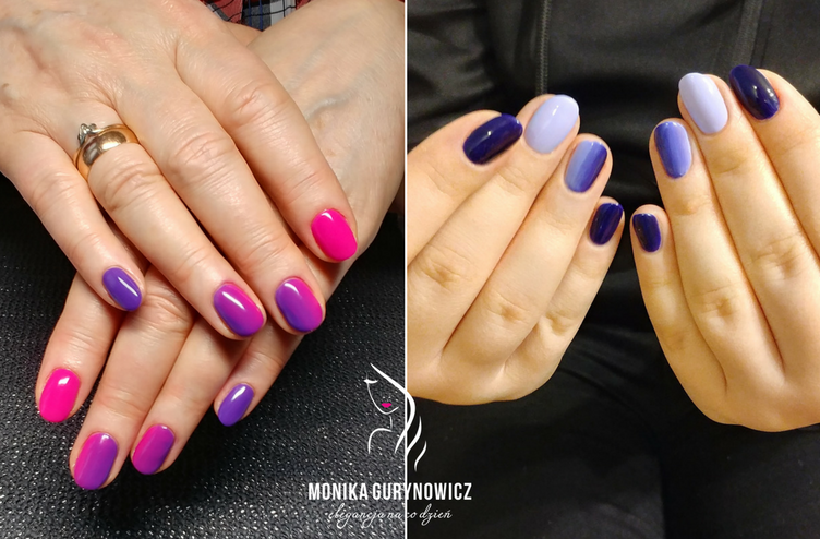 paznokcie manicure roz fuksja fiolet kobalt granat