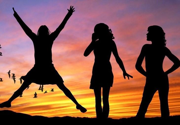 kobiety zachód słońca sukces zwycięstwo