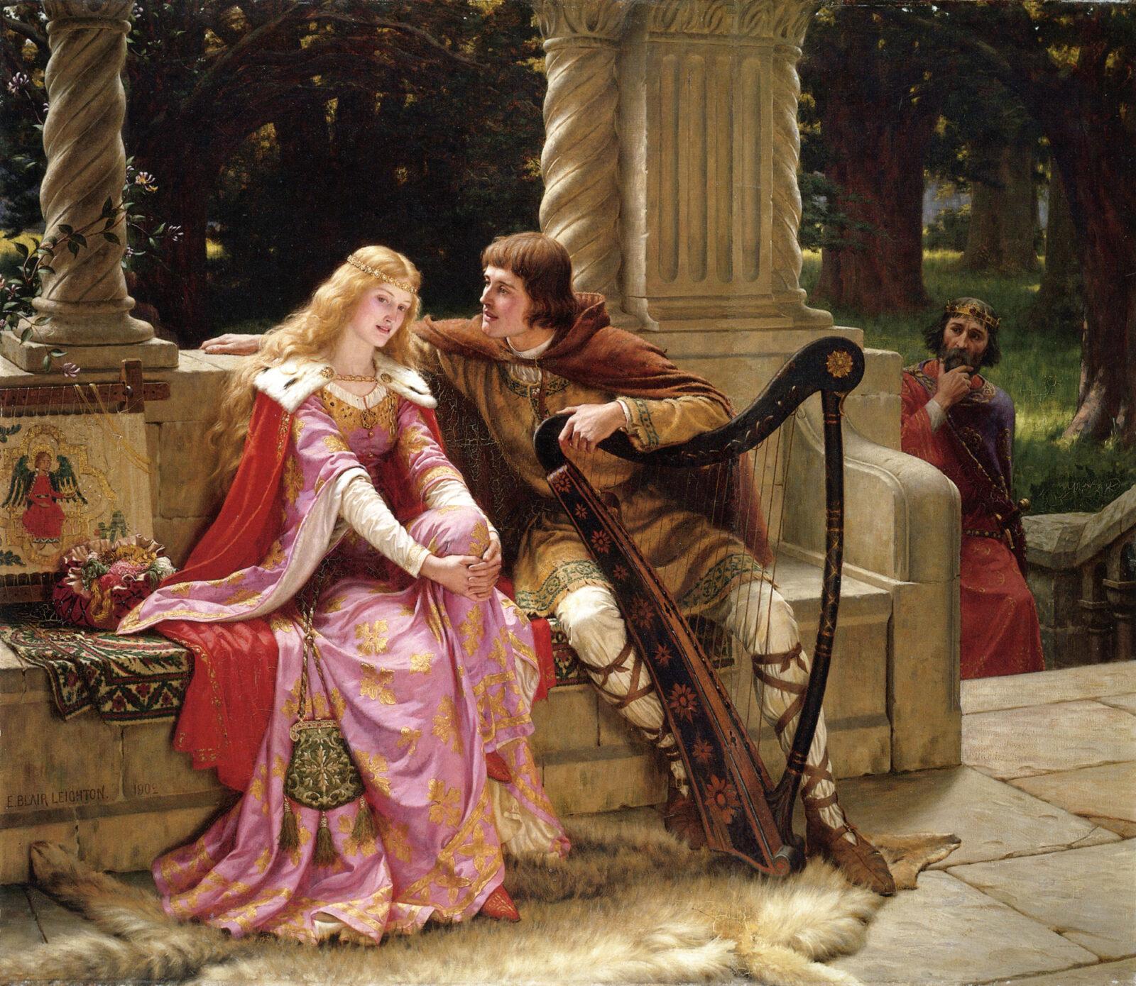 starożytne piękności kobieta miłość dworska rycerz blondwłosa